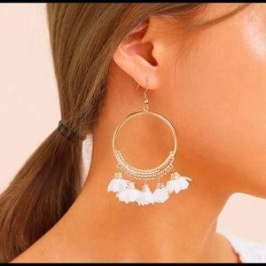 LAST PAIR! Boho hoop tassel earrings